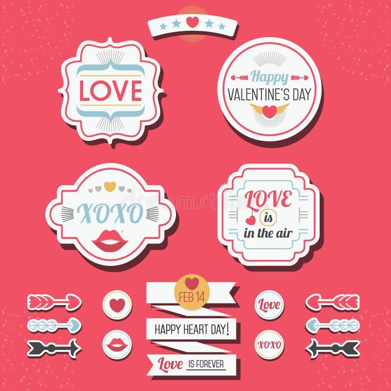 Gullig uppsättning för klistermärkear och för etiketter för förälskelse- och valentin dag retro vektor illustrationer
