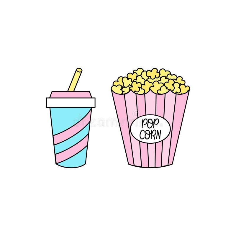 Gullig uppsättning för popcorn- och sodavattendrinkvektor stock illustrationer