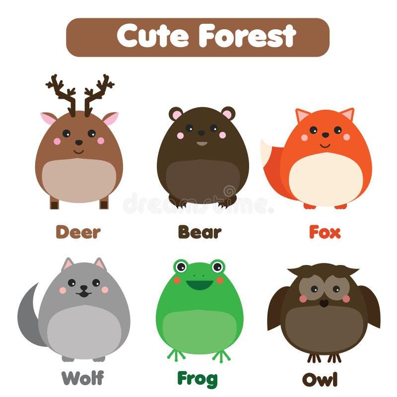 Gullig uppsättning för skogdjurdjurliv Barn utformar, isolerade designbeståndsdelar, illustration stock illustrationer