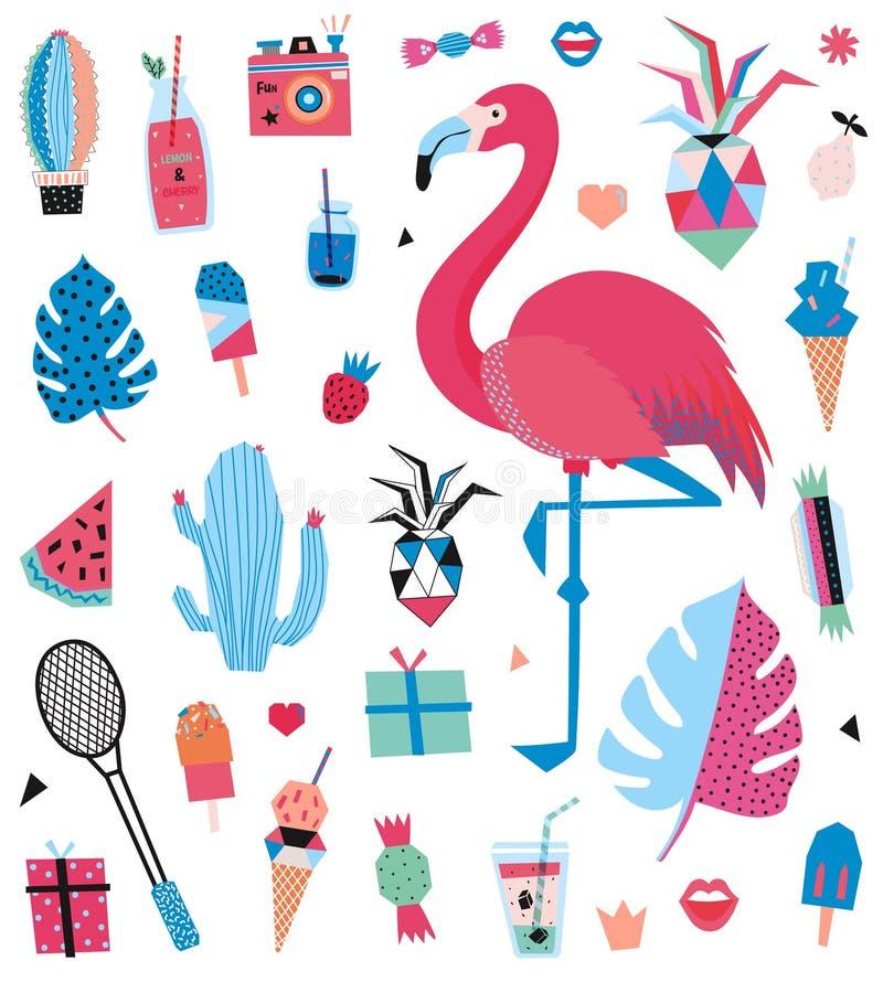 Gullig uppsättning för sommardesignskandinav stock illustrationer