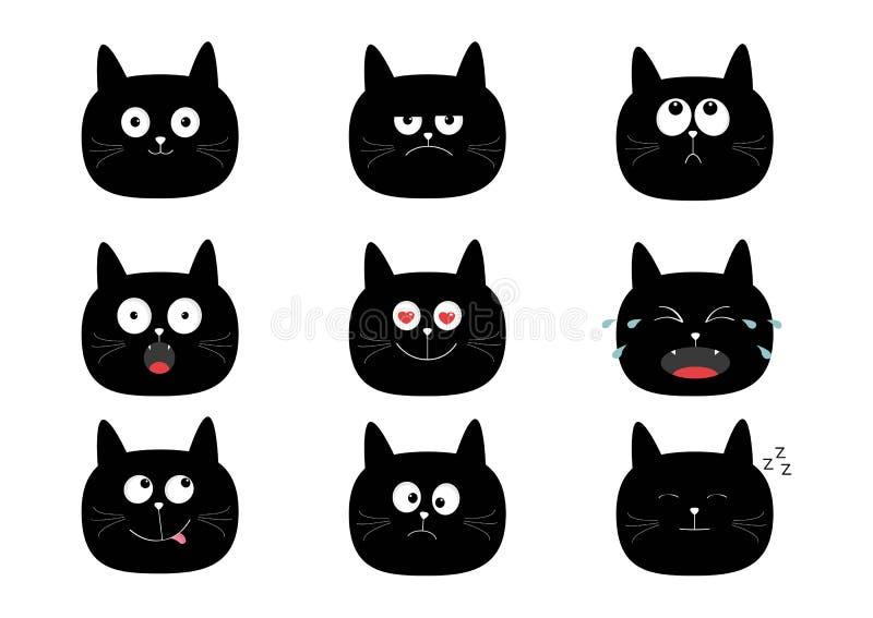 Gullig uppsättning för svart katt roliga tecknad filmtecken Sinnesrörelsesamling Lyckligt förvånat, gråt, ledset, ilsket som ler  stock illustrationer
