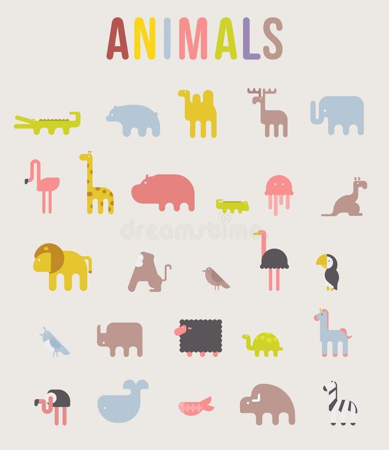 Gullig uppsättning för symbol för djurvektorillustration på en vit bakgrund royaltyfri illustrationer