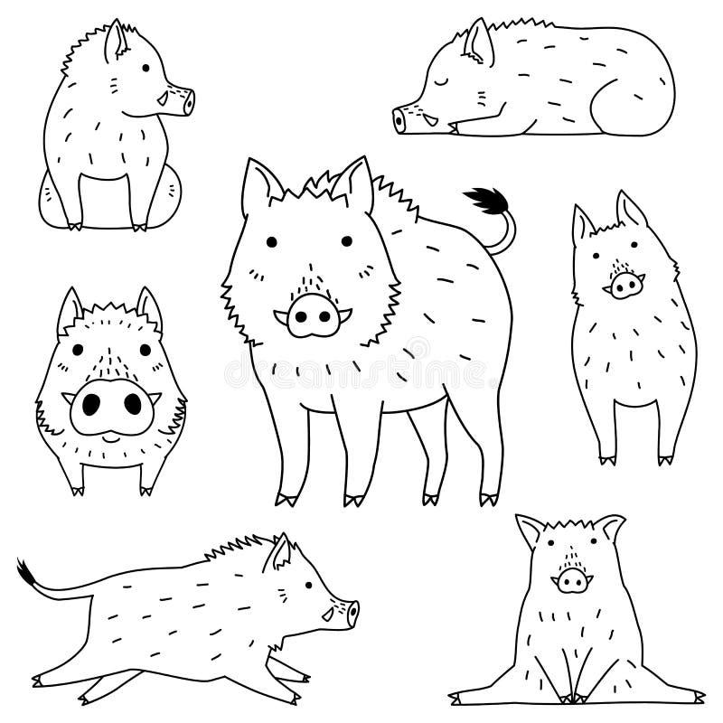Gullig uppsättning för vildsvinklotterteckning royaltyfri illustrationer