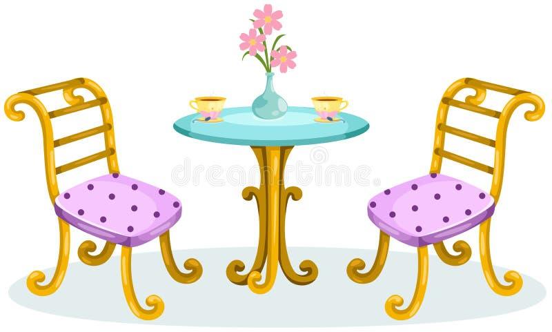 Gullig utomhus- kaffetabell med stolar stock illustrationer