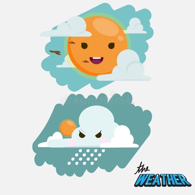 Gullig vädersymbol Soligt och regnigt - stock illustrationer
