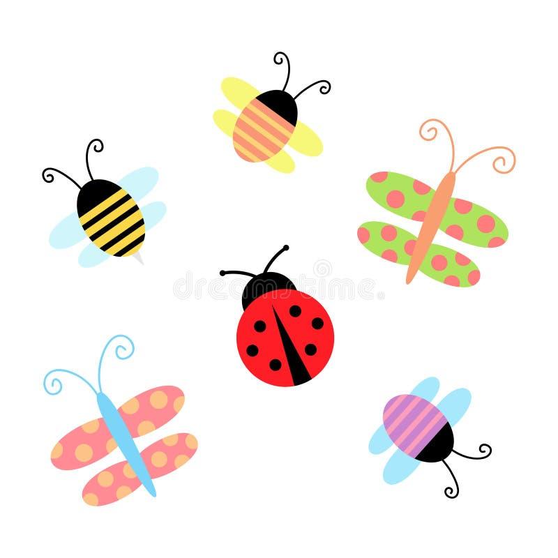 Gullig vår- och sommarkrypuppsättning stock illustrationer