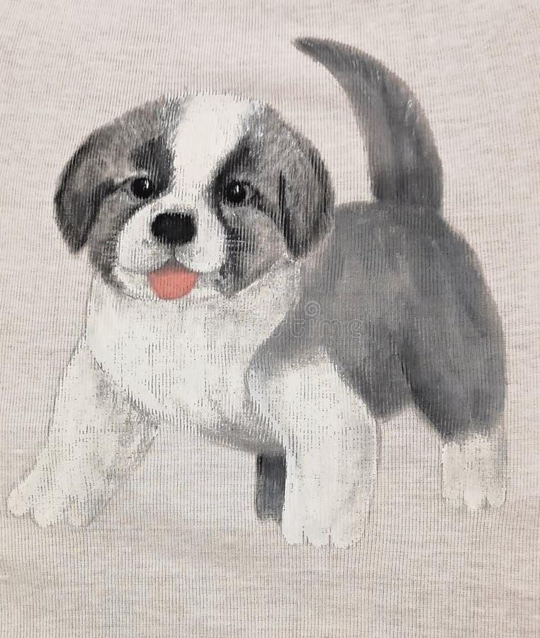 Gullig valp för fårhund - målad illustration arkivfoton