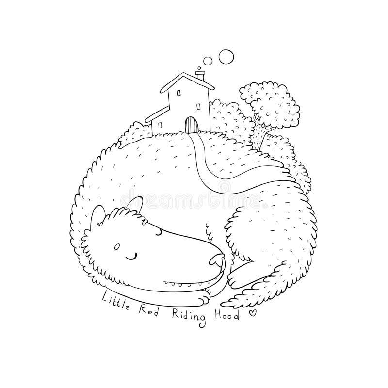 Gullig varg för tecknad film för objektbana för bakgrund clipping isolerad white Lite röd ridninghuv vektor illustrationer