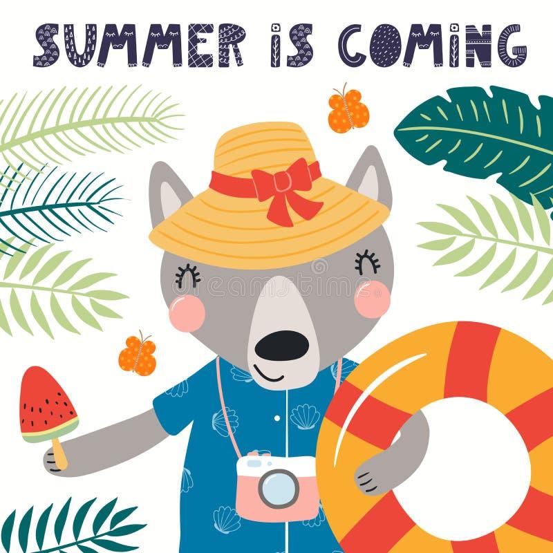 Gullig varg i sommar royaltyfri illustrationer
