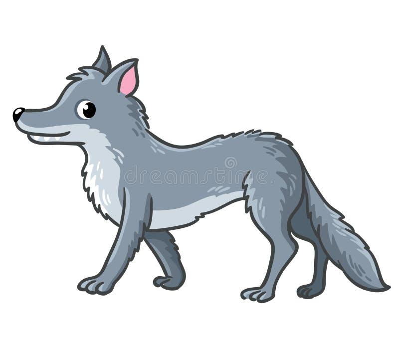 Gullig varg på en vit bakgrund vektor illustrationer