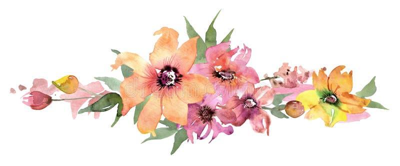 Gullig vattenfärgblommagräns målad blom- hand för bakgrund inbjudan bröllop för abstraktionkortillustration kanin för födelsedagk vektor illustrationer