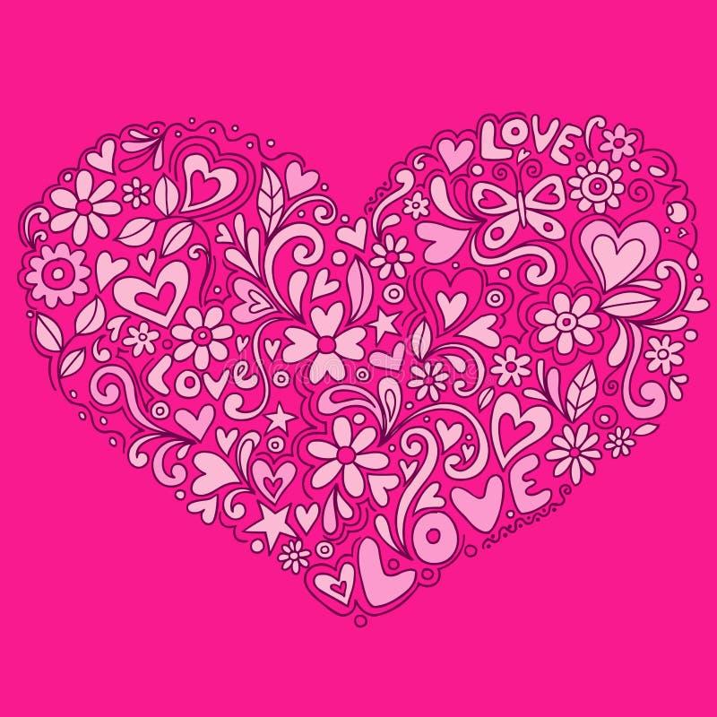 gullig vektor för klotterhjärtaillustration royaltyfri illustrationer