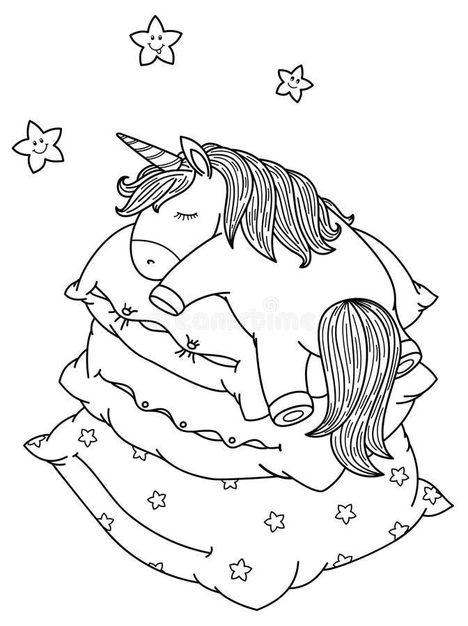 Gullig vektor och att sova enhörningen på kuddar stock illustrationer