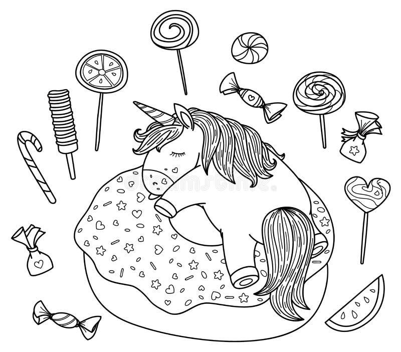Gullig vektor och att sova enhörningen på munk- och sötsakbeståndsdelar stock illustrationer
