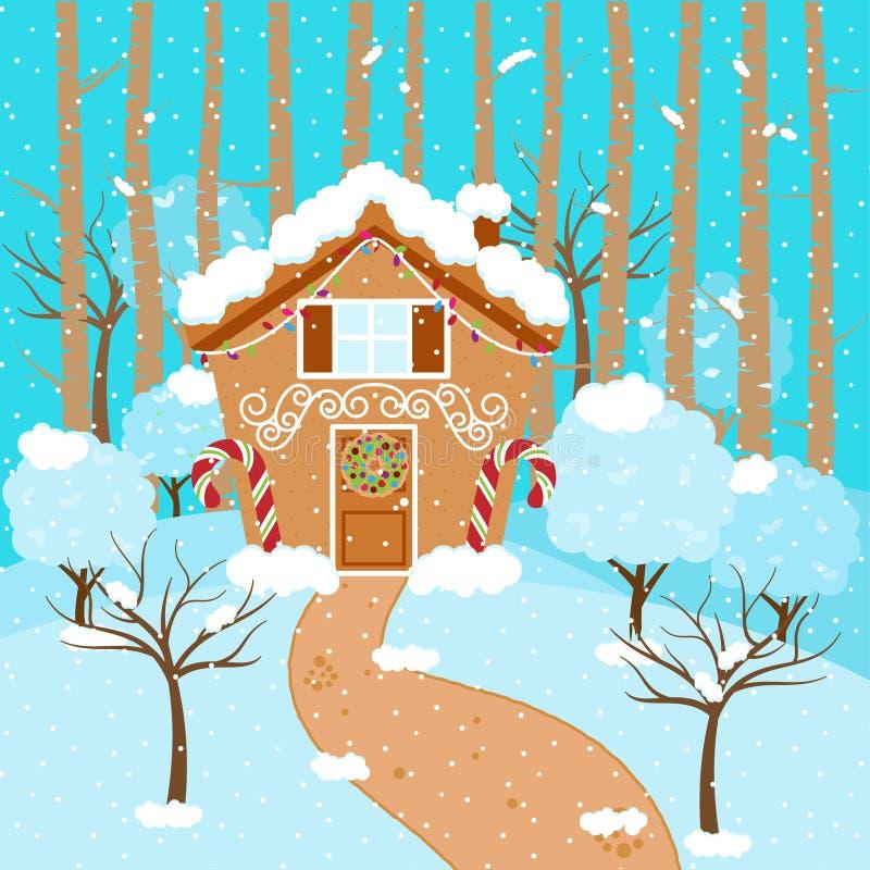 Gullig vektorbakgrund med feriepepparkakahuset och snö vektor illustrationer