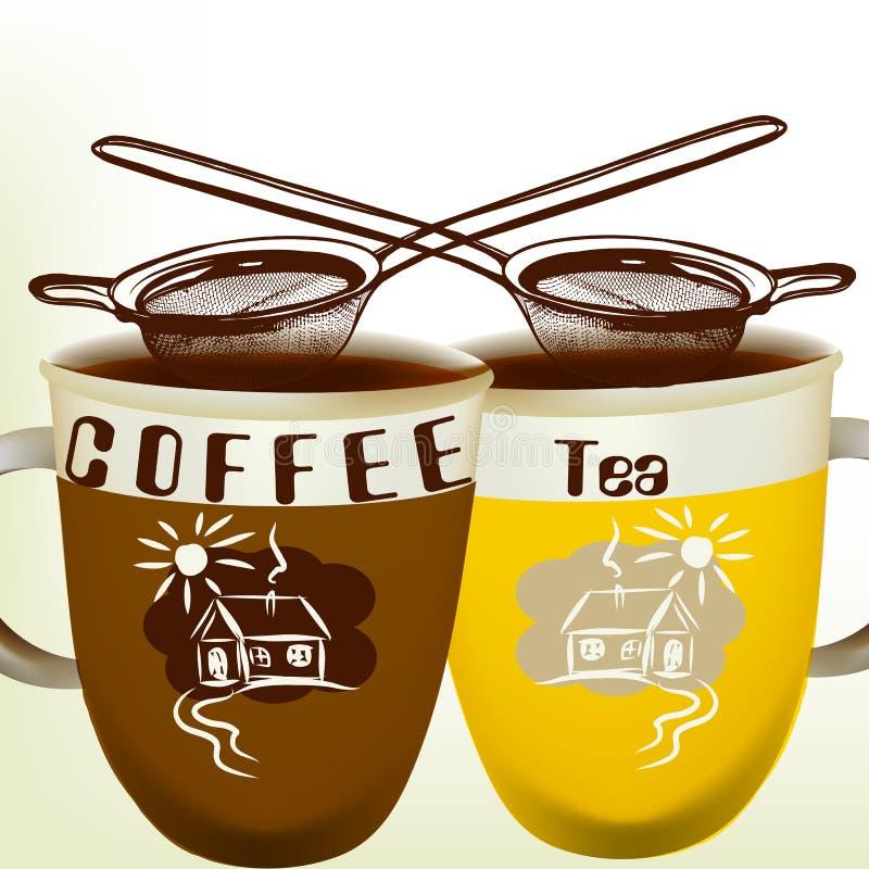 Gullig vektorbakgrund med kopp te och kaffe royaltyfri illustrationer