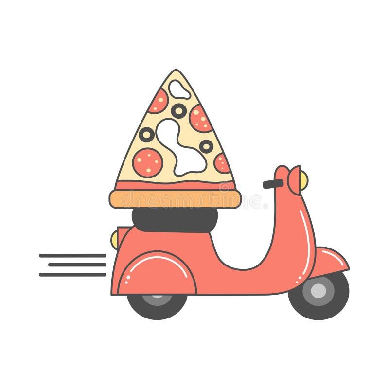 Gullig vektordesign för pizzaleveransen med motorcykel- och pizzaskivan royaltyfri illustrationer