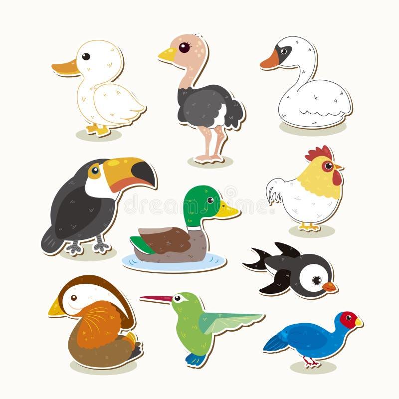 Gullig vektorfågeluppsättning stock illustrationer