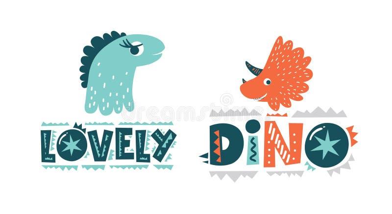 Gullig vektorillustration för dinosaurier i plan tecknad filmstil Dino och för älskvärd hand utdragen bokstäver stock illustrationer