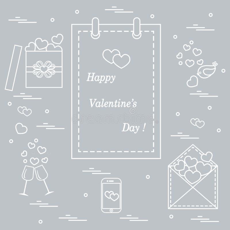 Gullig vektorillustration: kalender med den Valentine's dagen, gåvor stock illustrationer