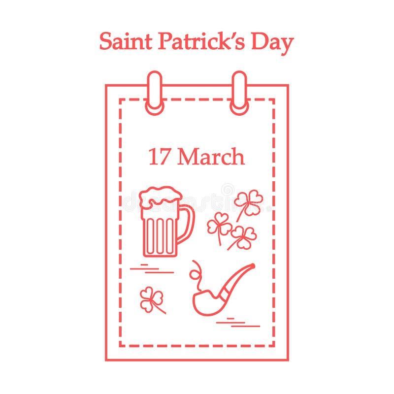 Gullig vektorillustration: kalender med ett öl, växt av släktet Trifolium, tobak royaltyfri illustrationer