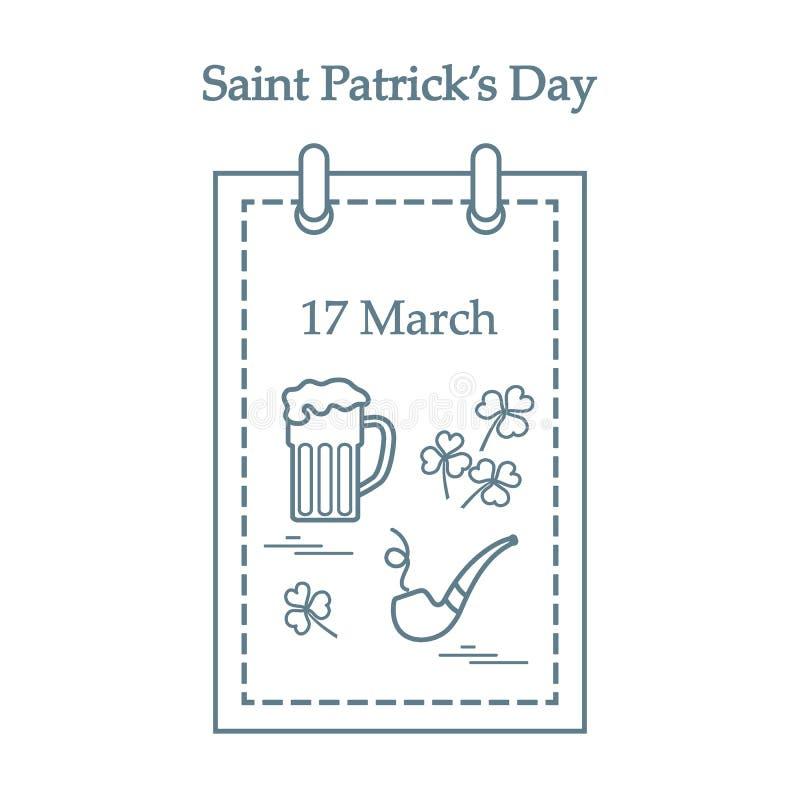 Gullig vektorillustration: kalender med ett öl, växt av släktet Trifolium, tobakrör för Sts Patrick dag Design f?r baner, affisch royaltyfri illustrationer