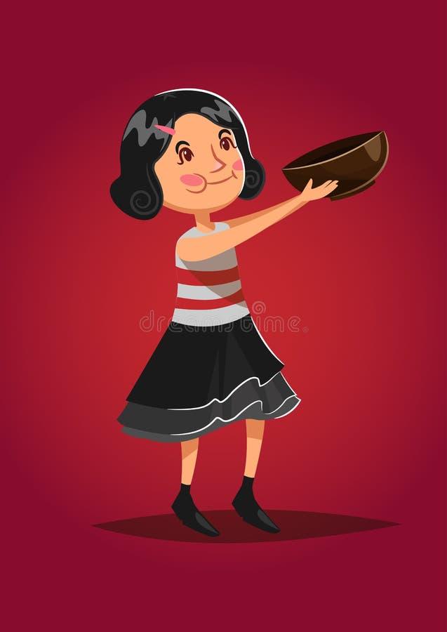 Gullig vektorillustration Spansk liten flicka med en träbunke stock illustrationer
