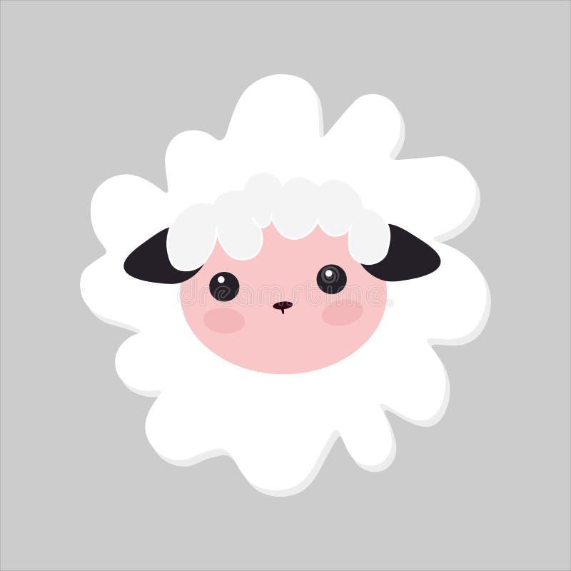 Gullig vektorlammillustration små vita får, behandla som ett barn bilden royaltyfri illustrationer