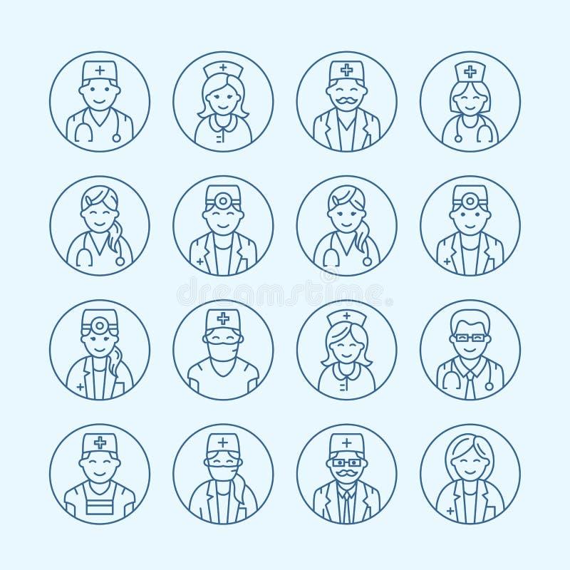 Gullig vektorlinje symbol av doktorn Linjär logo för sjukhusklinik Skissera det medicinska tecknet - kirurgen, kardiologen, tandl vektor illustrationer