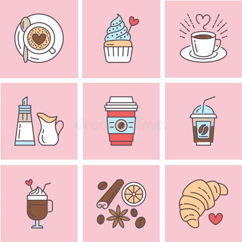Gullig vektorlinje symboler av kaffe Beståndsdelespressokoppen, mjölkar, sockrar, gifflet, varma drinkar, muffin, latte, kanel vektor illustrationer