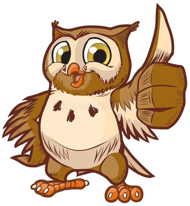 Gullig vektortecknad film Owl Mascot Giving Thumbs Up royaltyfri illustrationer