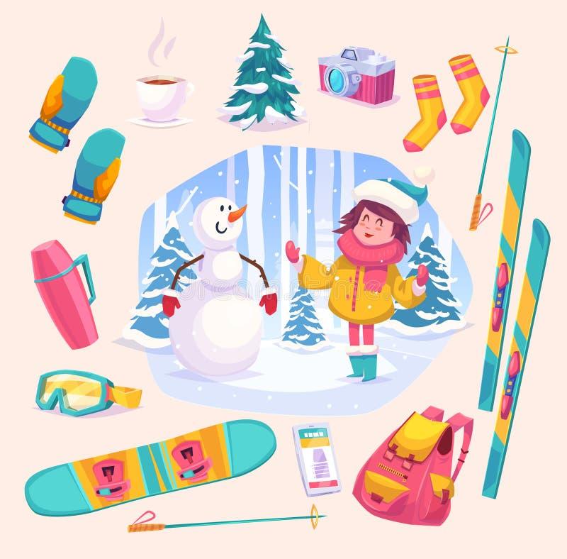 Gullig vinterflicka som plaing med snögubben i skogen vektor illustrationer