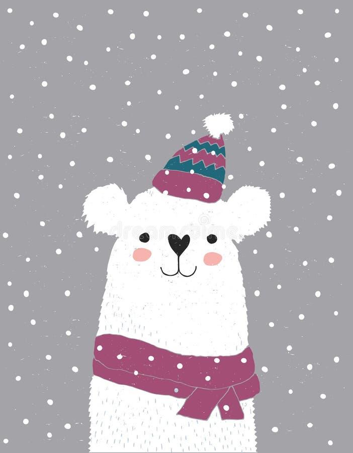 Gullig vit björn i en Pale Pink Cotton Hat med en vit tofs stock illustrationer