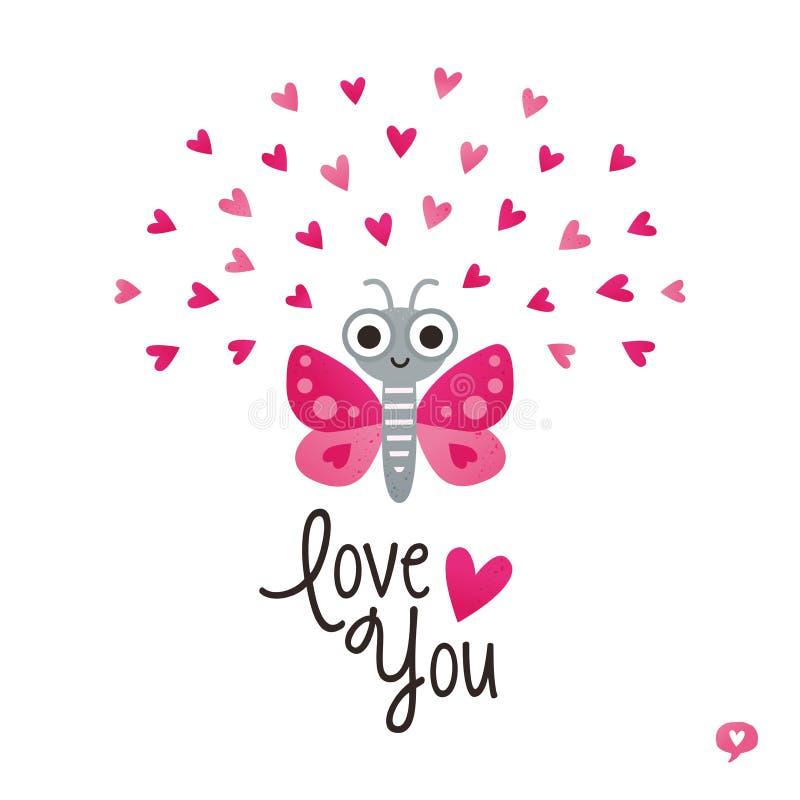 Gullig vit för rosa färger för hjärtor för fjäril för valentindagkort vektor illustrationer