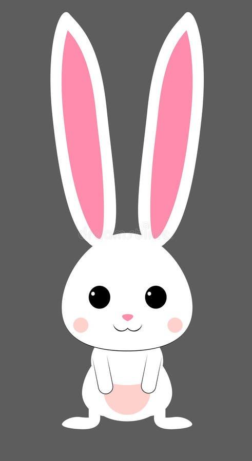 Gullig vit kanin med den rosa nosen Isolerad vektor stock illustrationer