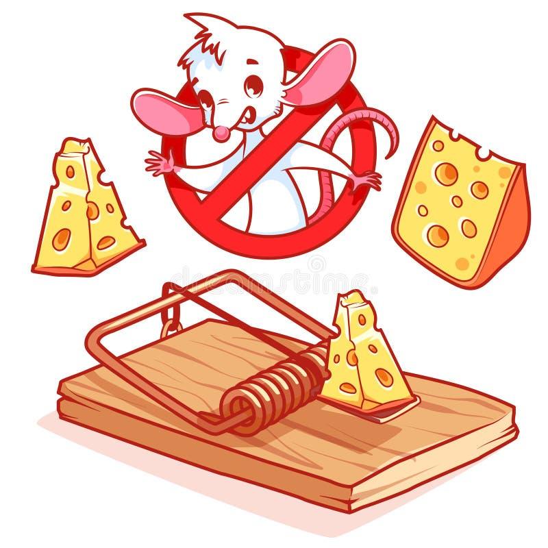Gullig vit mus inom rött förbuds- tecken med ost och mou stock illustrationer