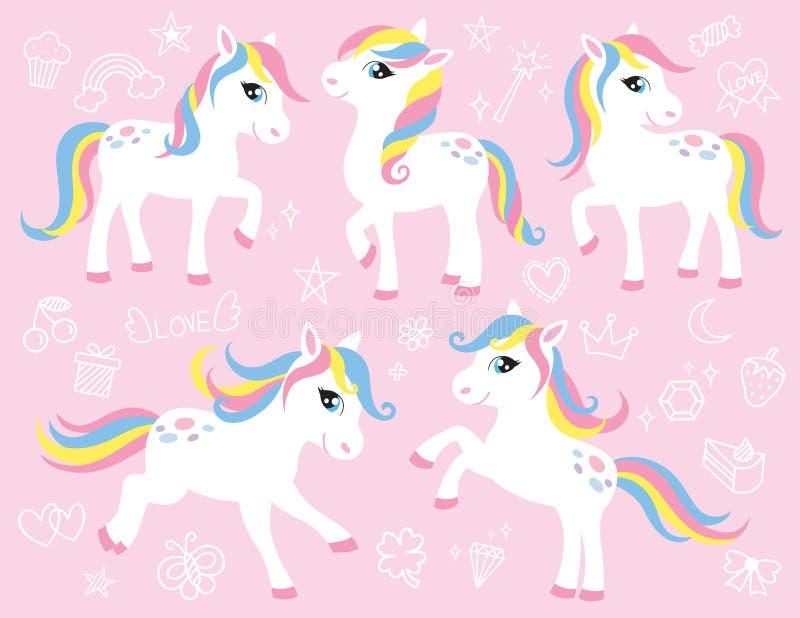 Gullig vit ponny- eller hästvektoruppsättning royaltyfri illustrationer