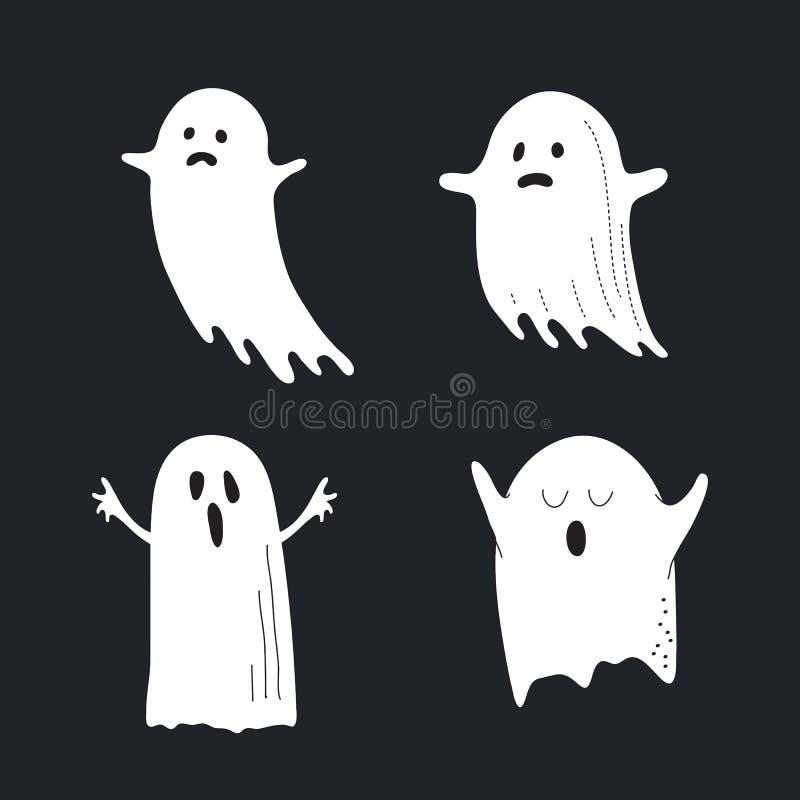 Gullig vit spökeuppsättning, inbillad kontur som isoleras på svart backg stock illustrationer