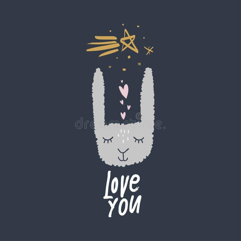 Gullig vykort för vektor med liten rolig kanin stock illustrationer