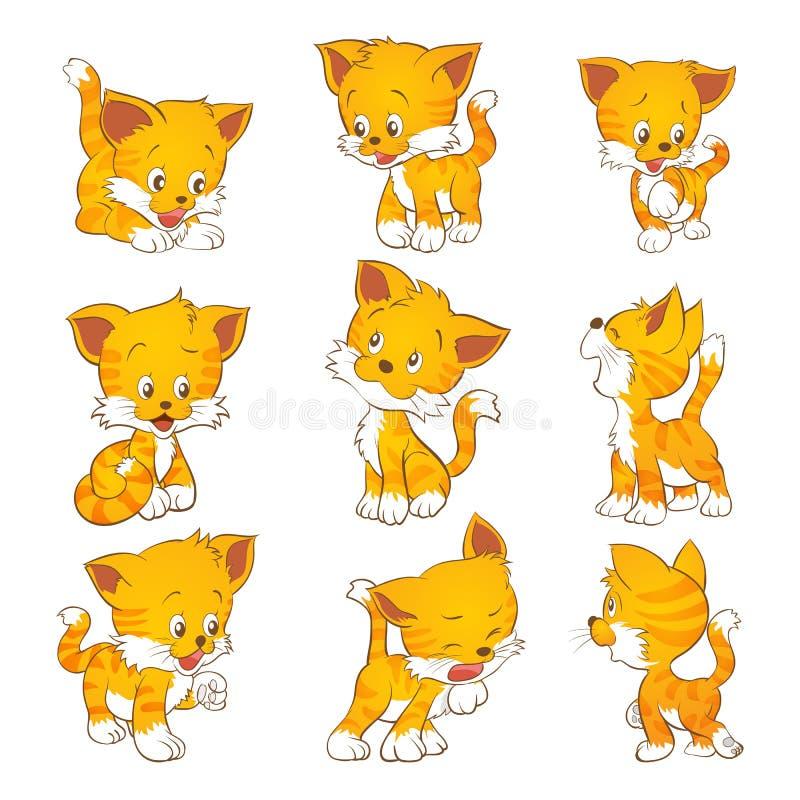gullig yellow för katt vektor illustrationer