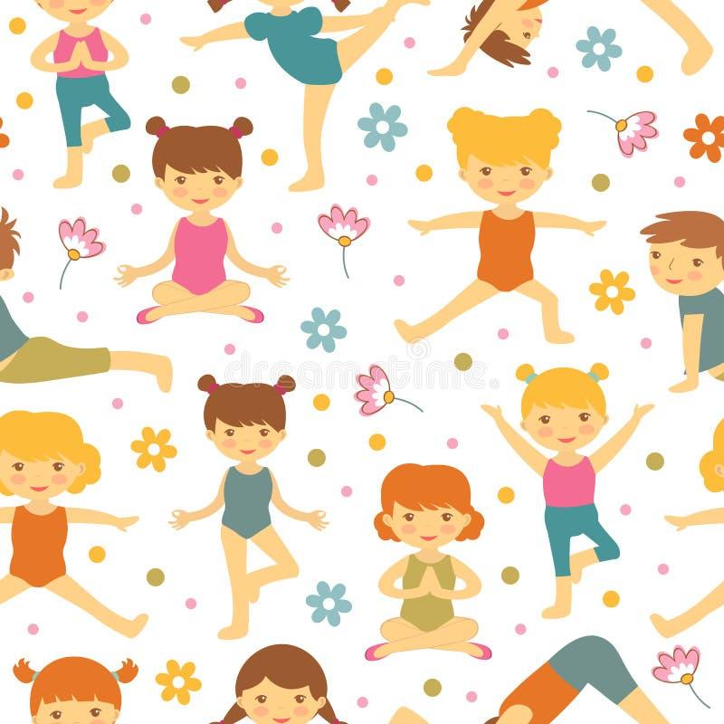 Gullig yoga lurar den sömlösa modellen royaltyfri illustrationer