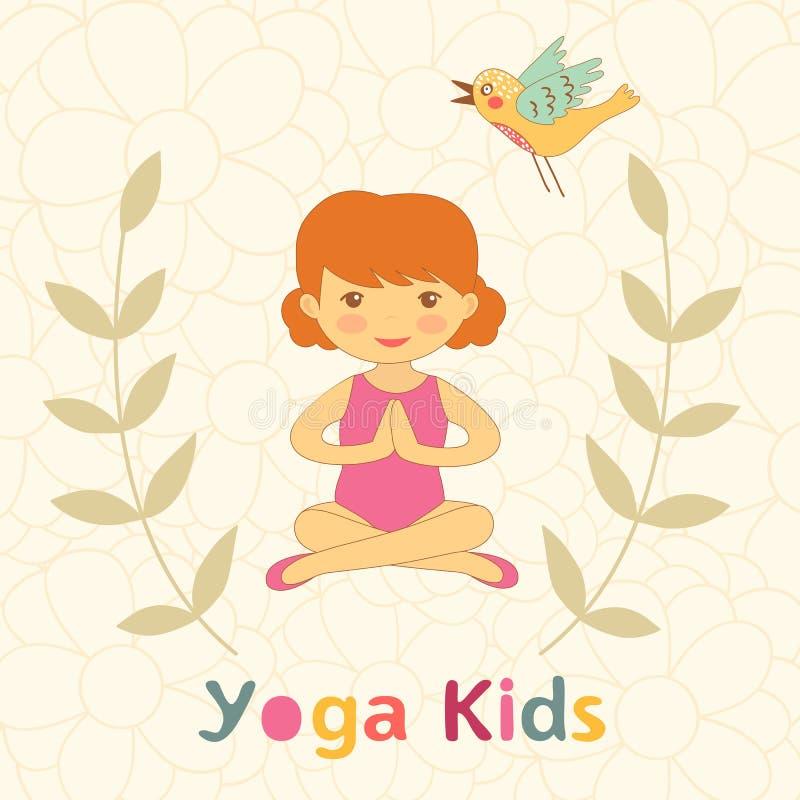 Gullig yoga lurar kortet med lilla flickan vektor illustrationer
