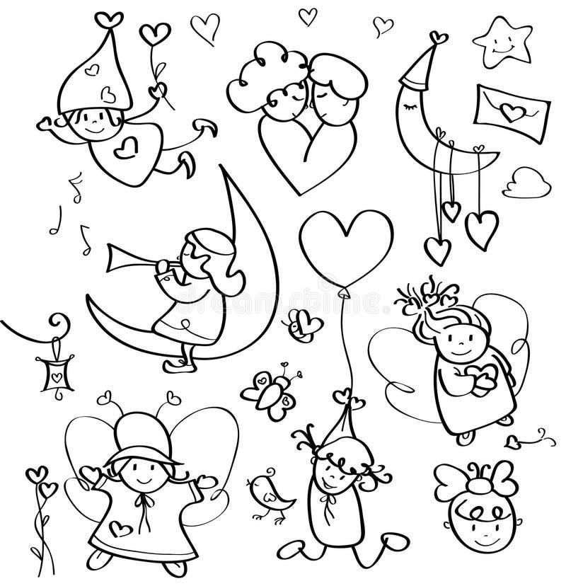 Gulliga änglar för vektorkonturer för design. stock illustrationer