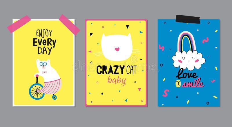 Gulliga affischer med det moderiktiga djuret royaltyfri illustrationer