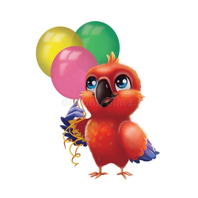 Gulliga ballonger för parti för parakiterpapegojainnehav - lycklig födelsedag för ungar från lyckligt blåögt Hand-dragit livligt  stock illustrationer