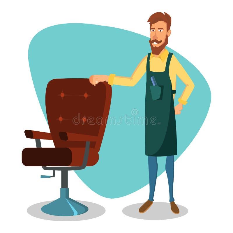 Gulliga Barber Vector Lycklig Hipster Barber Man för tecknad film Professionell Barber Ready To Do en moderiktig frisyr isolerat royaltyfri illustrationer