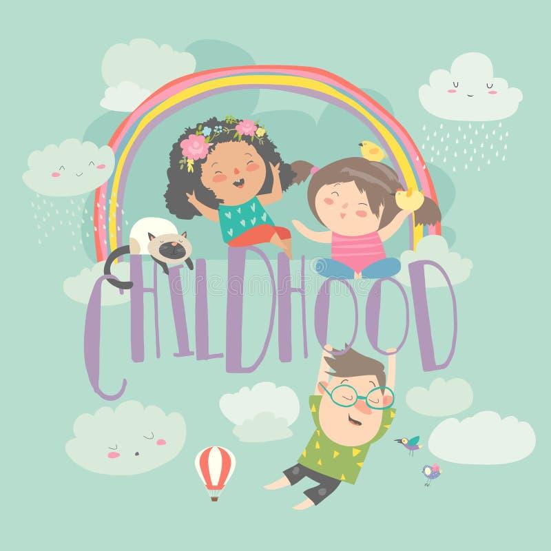 Gulliga barn med regnbågen lycklig barndom Blåtthav, Sky & moln vektor illustrationer