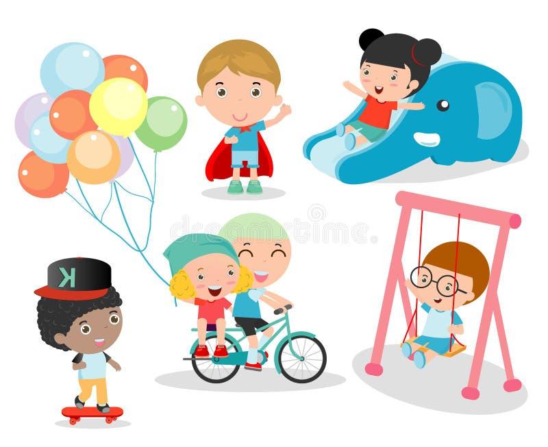 Gulliga barn som spelar med leksaker i lekplats, barn i parkera stock illustrationer