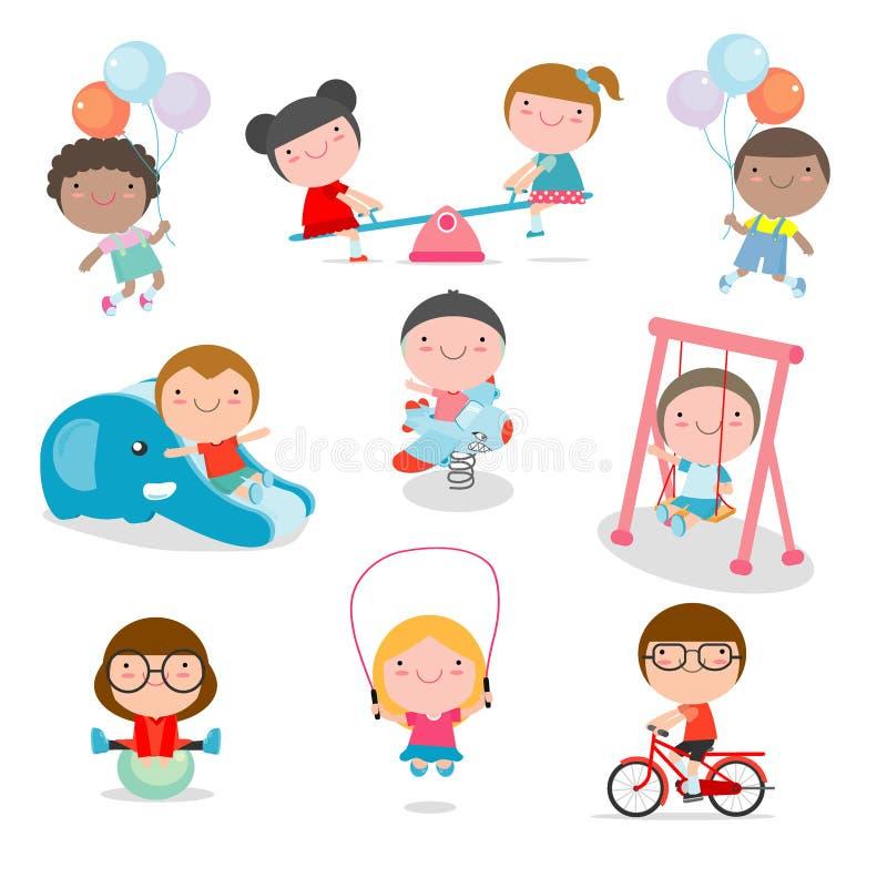 Gulliga barn som spelar med leksaker i lekplats, ungar i parkera på vit bakgrund, vektorillustration royaltyfri illustrationer