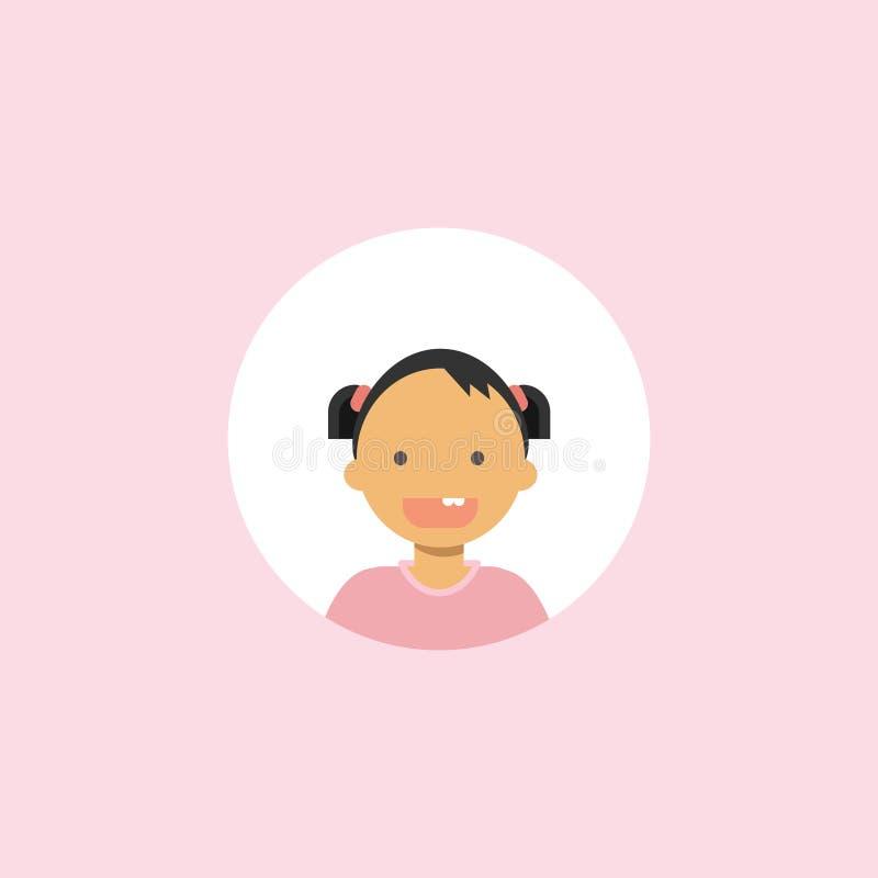 Gulliga barn vänder mot den lyckliga flickaståenden på rosa bakgrund, kvinnlig avatarlägenhet royaltyfri illustrationer